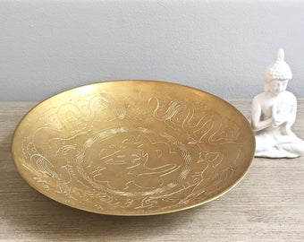 Vintage Chinese Brass Bowl Good Luck Fortune Shallow Decorative Hand Chased Gold Metallic Chic
