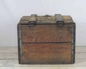 Antique Edelweiss Prohibition Era Wood Beer Crate/Box Schoenhofen Co Wood Crate #4