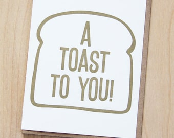 A toast to you, silly congratulations, letterpress card