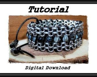 Zig Zag Leather and Chain Bracelet Tutorial - digital download; adjustable cuff bracelet; DIY bracelet tutorial