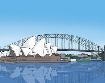 Sydney Opera House Illustration - Australia Drawing - Oz - Down Under - Aussie Drawing - australia landmarks