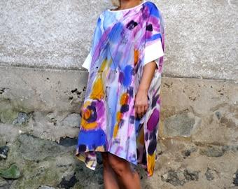Handpainted Luxury Silk Tunic/Abstract Handpainted Top/Loose Dress/Maxi tunic/Oversize Tunic/Painting 100% SILK Tunic/Abstract Dress/T0221