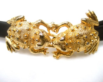 Whimsical Gilt Metal Frog Buckle Belt by Dottie Smith