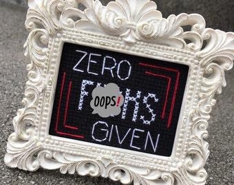 Mini White Baroque Framed Cross Stitch - Zero F*cks Given