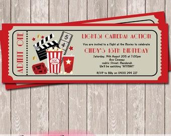 Movie Ticket Style Birthday Invitation - YOU PRINT