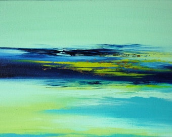 Landscape Canvas Painting   Original Canvas Wall Art   Blue Green and Turquoise   Contemporary Abstract Acrylic Artwork   Russian Artist  