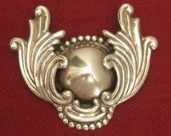 CLEARANCE LOS CASTILLO Sterling Silver Brooch.  Large Wings Around Domed Center. Great Depth & Detail.  1940's Signed Vintage Piece.