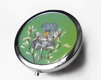 Green Purse Mirror, Flower Compact Mirror, modern gift for her under 20