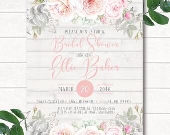 Bridal Shower Invitation Printed, Digital Bridal Shower Invitation,Wedding Shower Invitation,Rustic Invitation, Bridal Shower, Boho Bridal