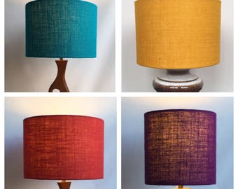 Hessian Drum Lampshade Lightshade Retro Lampshade 70s Style Lightshade Various Sizes