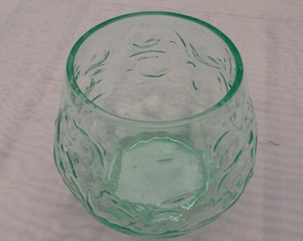 Vintage Hand Blown High Ball Glass Pale Green, Small Vase, Hand Blown Glass Collectible