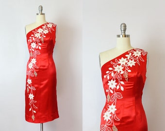 vintage 50s dress / 1950s red satin dress / red and white beaded dress / one shoulder dress / red wiggle dress / Starlight dress