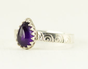 Amethyst Sterling Ring - Pear Shape Amethyst Ring - Ready to Ship Size 7.5 - Sample Sale
