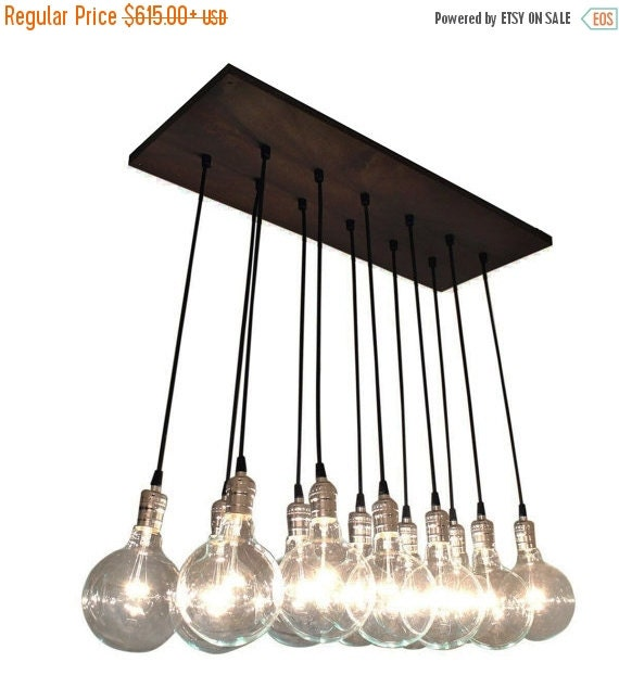 HOLIDAY SALE Urban Chic Chandelier With Exposed Bulbs - Kitchen Lighting, Modern Chandelier