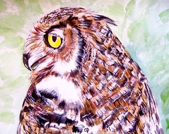 Owl Original Watercolor Painting, Painting of Owl, Owl Watercolor, Watercolor Owl, Owl Painting, Owl Original Art, Owl Artwork, Owl Wall Art