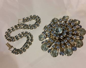 Matching Bracelet & Brooch with Baby Blue Rhinestones