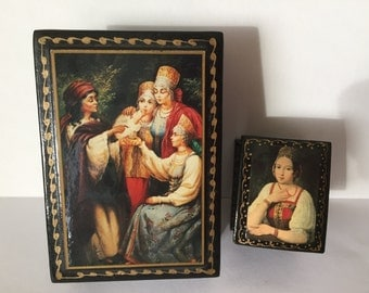 Vintage Russian Hand Painted  Lacquer Boxes, Set of 2
