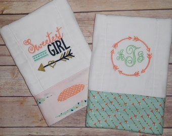 Embroidered arrows and feathers burp cloth set; aztec burp cloth; tribal burp cloth; baby girl burp cloth; sweet burp cloth;