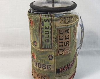 Bodum French Press Cozy - Cafetiere Cosy - Coffee Pot Cozy - Old Cigar Boxes Fabric