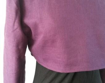 SALE: Mori croptop made of purple linen. Size 10/12 goth,pagan,mori