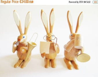 SPRING SALE - Trio of Adorable German Vintage Easter Erzgebirge Wooden Musicians Bunnies, made in the DDR Erzgebirge