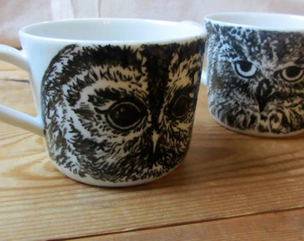 Hand Painted Owl Coffee Cup - Choose One - Tawny Owl or Eagle Owl