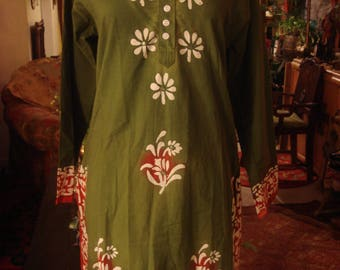 Vintage Green 1990s Boho Gypsy Afghan Dress Shirt