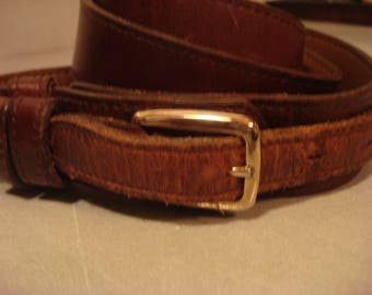 Vintage 1990 Brown Distressed Leather Double Alore Belt