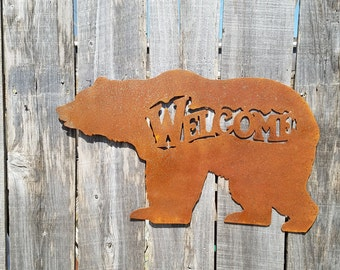 Welcome Grizzly Bear Metal Wall Hanging Sign/ Rustic/ Home Decor/ Lodge/ Cabin
