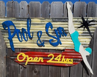 Pool and Spa Mid-Century Retro Painted Flat Metal/Vintage Corrugated Barn Tin/  Sign