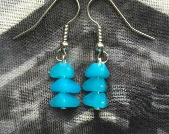 Bright Blue Beaded Drop Earrings