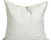 Ticking Stripe Pillow Covers, French Ticking Decorative Pillow, Taupe Grey Throw Pillow, Cushion, Gray Ticking. cm . French Gray Ticking