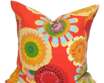 OUTDOOR PILLOW.18x18 inch.Red Outdoor Decorative Pillows.Pillow Covers. Red Floral Pillow Cover. Red Outdoor Pillow. Floral Cushion Cover.