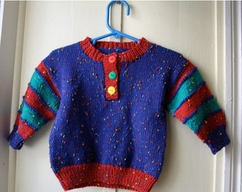 ON SALE Vintage handknit sweater / primary colours pullover sweater / red yellow green and blue knit jumper  / Baby size 12 to 18 months