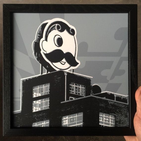 Natty Boh Tower Framed Silkscreen Print, Baltimore, MD