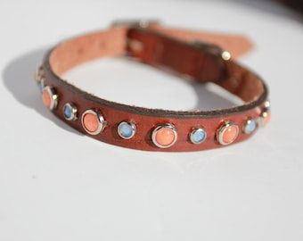"9-11"" Orange Dog Collar, Small Dog Collar, Leather Dog Collar"