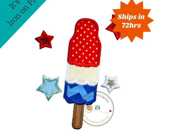 July 4th bombpop with stars iron on applique, embroidered fabric pop sickle and stars applique, patriotic holiday iron on pop sickle