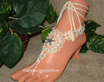 Crochet WEDDING Barefoot Sandals, Beach Sandals, Sandal, Ivory, Foot Jewelry, Shoes, Beachwear, Footwear, Anklets, Star Fish