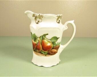 Pear Cream Pitcher - Vintage Green Orange Nut Germany Ceramic Creamer