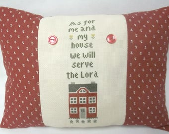 As For Me And My House Cross Stitch Accent Pillow Christian Pillow