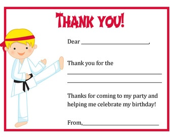 Thank You Card - Karate Boy (Blonde) Theme - Digital file - You print