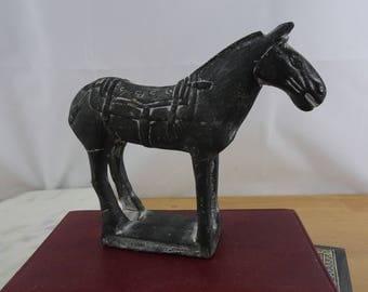 Vintage Black Ceramic Tang Horse, Chinese Horse Figurine, Mid Century Horse