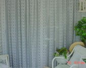 Vintage Lace Curtains Double Roses Stripes Romantic French Prairie Farmhouse Chic