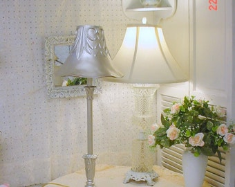 Vintage Lamp Silver Shabby Chic Romantic French Country Cottage
