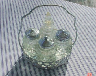 Vintage Castor Set Stainless 5-pc Cutwork  Shabby Cottage Chic
