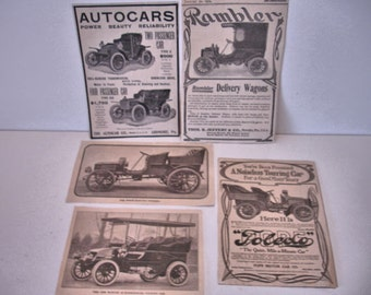 Antique Car Adds 1904-1905 Winston Touring Car-1900 Rambler Delivery Wagon Puls More lot of 6 Car Adds