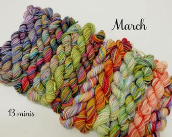 March Collection - 13 sock yarn miniskeins, 12 yds each