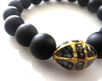 Black Diamond Gold Over Sterling Silver And Matte Onyx Rounds Stretch Bracelet/Boho Bracelet/Yoga Bracelet