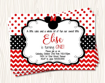 Custom Minnie Mouse - First 1st Red & Black Polka Dot Birthday Party Invitation   - Any Color