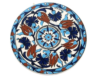 Vintage 80s 90s TEK CINI Blue Brown White Tulip Floral Pattern Turkish Round Ceramic Tile